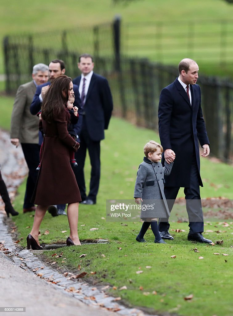 Catherine, Duchess of Cambridge and Prince William, Duke of Cambridge, Prince George of Cambridge and Princess Charlotte of Cambridge arrive to attend the service at St Mark's Church on Christmas Day on December 25, 2016 in Bucklebury, Berkshire.