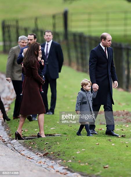 Catherine Duchess of Cambridge and Prince William Duke of Cambridge Prince George of Cambridge and Princess Charlotte of Cambridge arrive to attend...