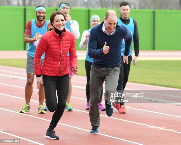 Catherine Duchess of Cambridge and Prince William Duke of Cambridge attend a training day for the Heads Together team for the London Marathon at...