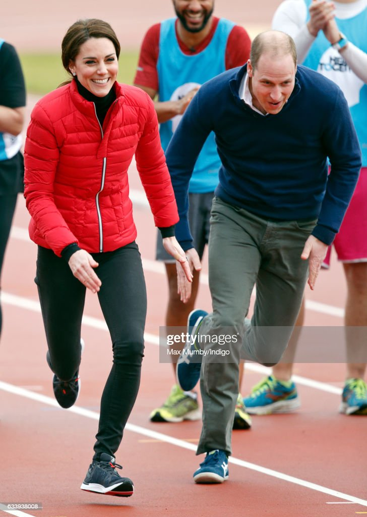 Catherine, Duchess of Cambridge and Prince William, Duke of Cambridge take part in a running race against Prince Harry as they join a Team Heads Together London Marathon Training Day at the Queen Elizabeth Olympic Park on February 5, 2017 in London, England.