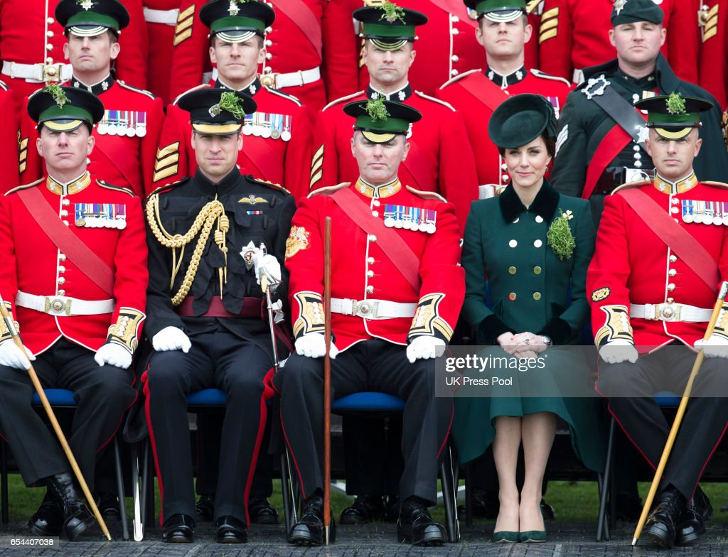 Catherine, Duchess of Cambridge and Prince William, Duke Of Cambridge attend the annual Irish Guards St Patrick's Day Parade at Household Cavalry Barracks on March 17, 2017 in London, England.