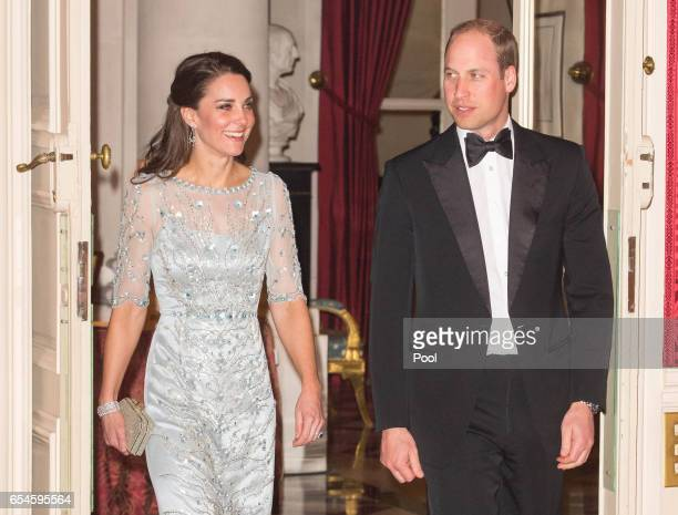 Catherine, Duchess of Cambridge and Prince William, Duke Of Cambridge attend a dinner hosted by Her Majesty's Ambassador to France, Edward Llewellyn,...