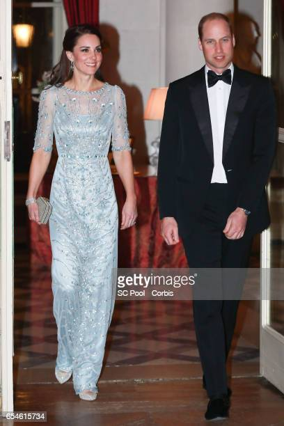 Catherine, Duchess of Cambridge and Prince William, Duke of Cambridge attend a dinner at the British Embassy on March 17, 2017 in Paris, France. The...