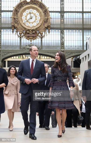 Catherine Duchess of Cambridge and Prince William Duke of Cambridge arrive at the Musee d'Orsay during an official twoday visit to Paris on March 18...