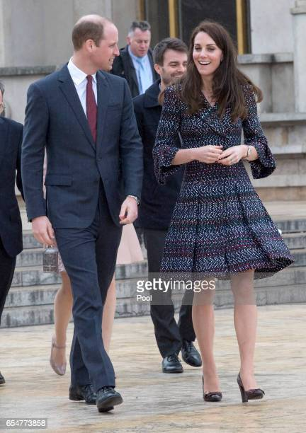 Catherine Duchess of Cambridge and Prince William Duke of Cambridge visit a Les Voisins in Action event highlighting the strong ties between the...