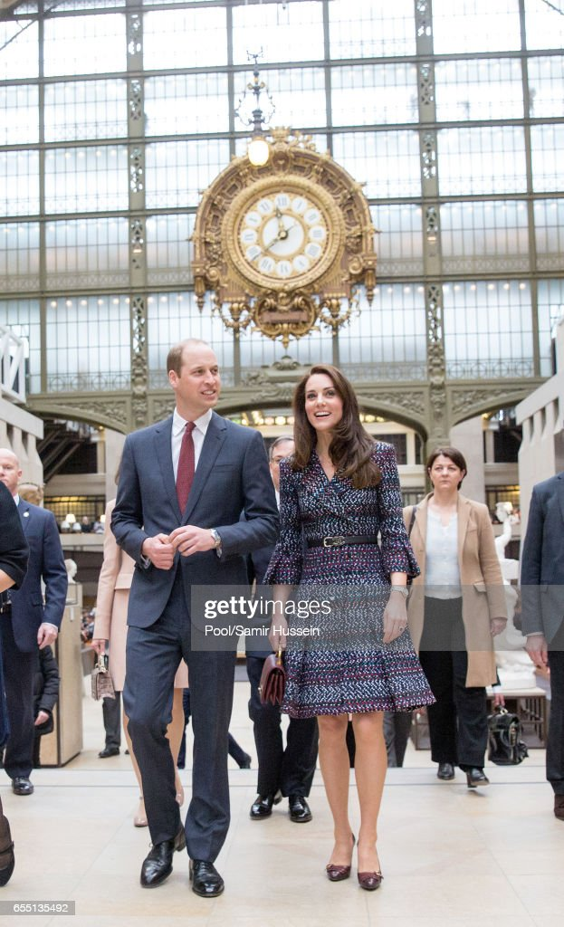 Catherine, Duchess of Cambridge and Prince William, Duke of Cambridge visit Musee d'Orsay on March 18, 2017 in Paris, France. The Duke and Duchess are on a two day tour of France.