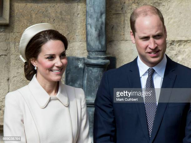 Catherine Duchess of Cambridge and Prince William Duke of Cambridge attend the Easter Day service at St George's Chapel on April 16 2017 in Windsor...