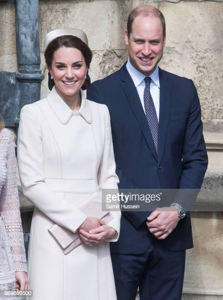 Catherine Duchess of Cambridge and Prince William Duke of Cambridge attend Easter Day Service at St George's Chapel on April 16 2017 in Windsor...