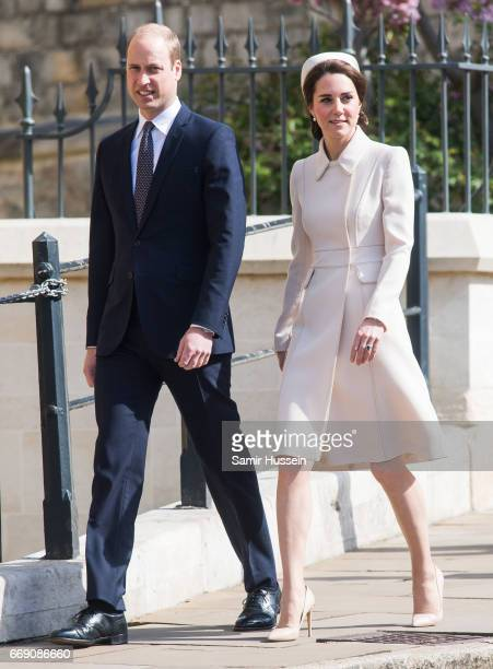 Catherine, Duchess of Cambridge and Prince William, Duke of Cambridge attend Easter Day Service at St George's Chapel on April 16, 2017 in Windsor,...