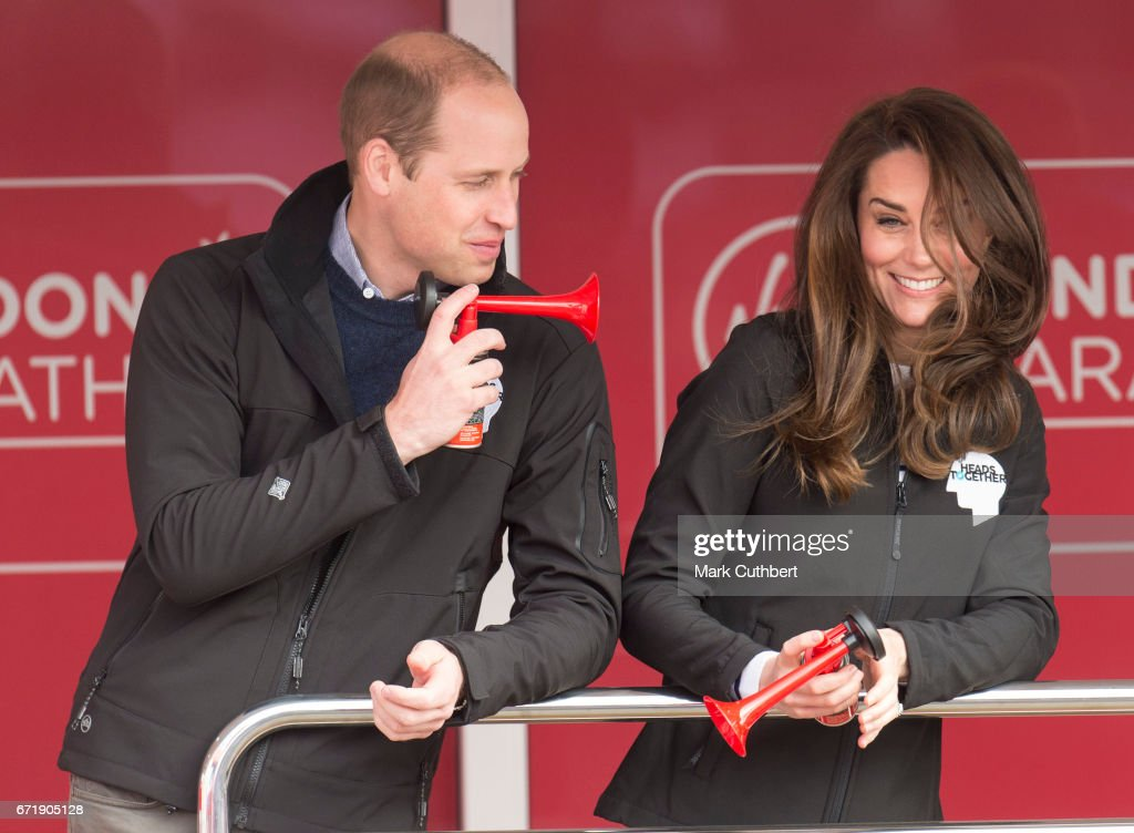 Catherine, Duchess of Cambridge and Prince William, Duke of Cambridge at the blue start of the 2017 Virgin Money London Marathon on April 23, 2017 in London, England.