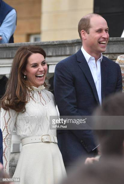Catherine Duchess of Cambridge and Prince William Duke of Cambridge are seen at a tea party in the grounds of Buckingham Palace to honour the...