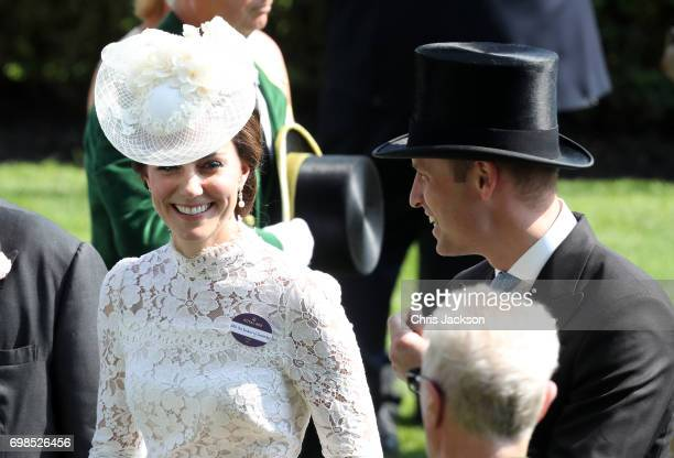 Catherine Duchess of Cambridge and Prince William Duke of Cambridge in the parade ring during Royal Ascot 2017 at Ascot Racecourse on June 20 2017 in...