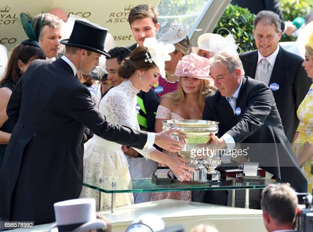 Catherine Duchess of Cambridge and Prince William Duke of Cambridge present a trophy during Royal Ascot 2017 at Ascot Racecourse on June 20 2017 in...