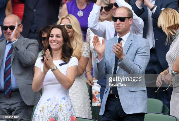 Catherine Duchess of Cambridge and Prince William Duke of Cambridge react as they attend day 13 of Wimbledon 2017 on July 16 2017 in London England