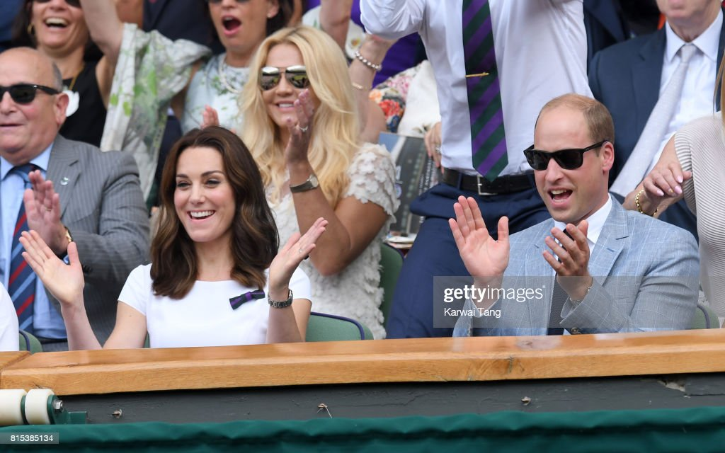 Catherine, Duchess of Cambridge and Prince William, Duke of Cambridge react as they attend day 13 of Wimbledon 2017 on July 16, 2017 in London, England.