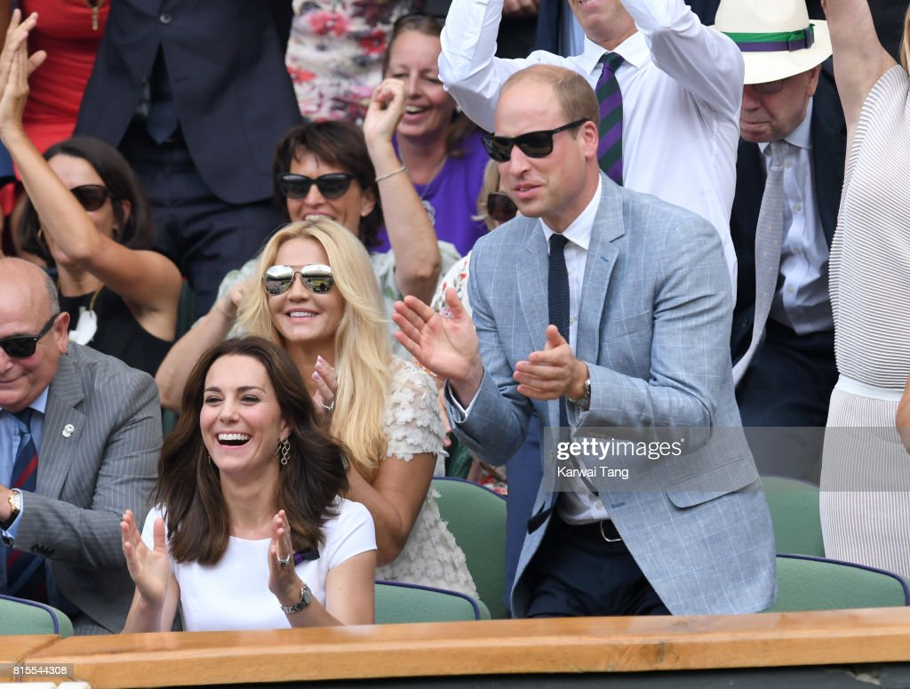 Catherine, Duchess of Cambridge and Prince William, Duke of Cambridge attend the Mens Singles Final during day thirteen of the Wimbledon Tennis Championships at the All England Lawn Tennis and Croquet Club on July 16, 2017 in London, United Kingdom.
