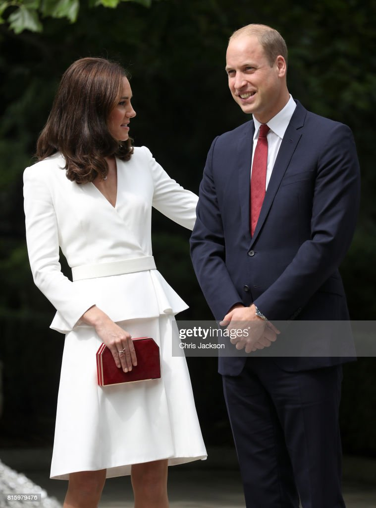 Catherine, Duchess of Cambridge and Prince William, Duke of Cambridge at the Presidential Palace on day 1 of their official visit to Poland on July 17, 2017 in Warsaw, Poland.