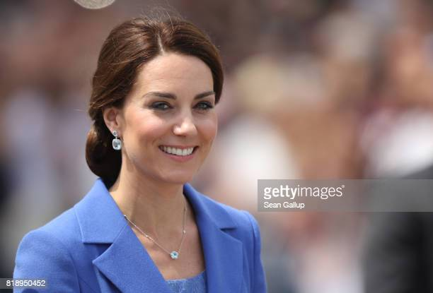 Catherine Duchess of Cambridge and Prince William Duke of Cambridge arrive at the Brandenburg Gate on the first day of their visit to Germany on July...