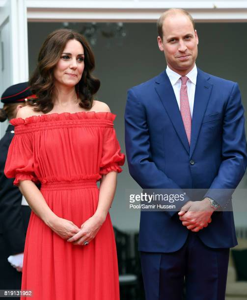 Catherine Duchess of Cambridge and Prince William Duke of Cambridge attend The Queen's Birthday Party at the British Ambassadorial Residenceduring an...