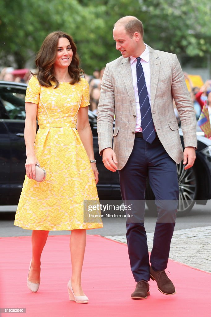 Catherine, Duchess of Cambridge and Prince William, Duke of Cambridge arrive for a visit of the German Cancer Research Center on the second day of their visit to Germany on July 20, 2017 in Heidelberg, Germany. The Duke and Duchess of Cambridge will meet researchers including Nobel Prize winner prof. Dr. Harald zur Hausen, and visit the stem cell research lab. The royal couple are on a three-day trip to Germany that includes visits to Berlin, Hamburg and Heidelberg.