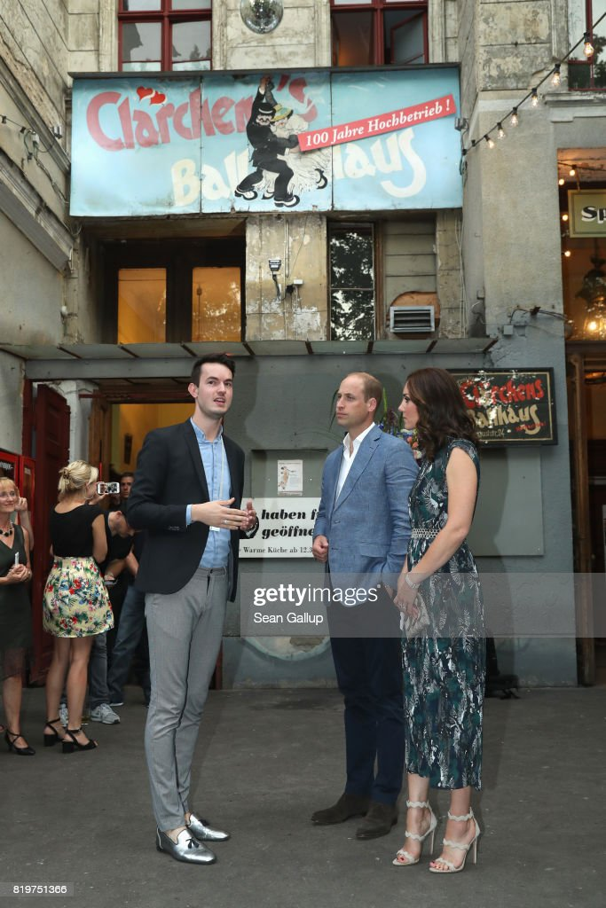 Catherine, Duchess of Cambridge and Prince William, Duke of Cambridge arrive for a reception with creatives at 'Claerchens Ballhaus' the last original dancehall in Berlin on the second day of their visit to Germany on July 20, 2017 in Berlin, Germany. The royal couple are on a three-day trip to Germany that includes visits to Berlin, Hamburg and Heidelberg.