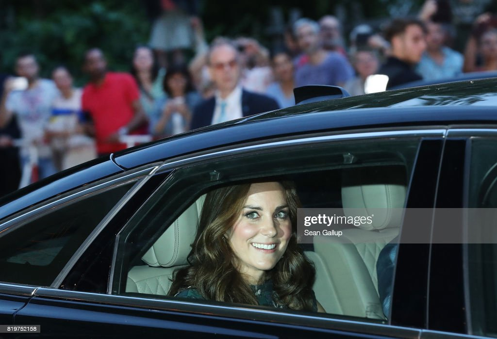 Catherine, Duchess of Cambridge, and Prince William, Duke of Cambridge (not pictured) depart in a limousine after attending a reception at Claerchen's Ballhaus dance hall following a day in Heidelberg on the second day of the royal visit to Germany on July 20, 2017 in Berlin, Germany. The royal couple are on a three-day trip to Germany that includes visits to Berlin, Hamburg and Heidelberg.