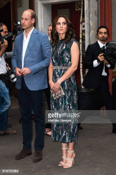 Catherine Duchess of Cambridge and Prince William Duke of Cambridge depart after attending a reception with creatives at 'Claerchens Ballhaus' the...