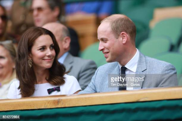 Catherine Duchess of Cambridge and Prince William Duke of Cambridge attend the Mixed Doubles Final on Center Court during the Wimbledon Lawn Tennis...