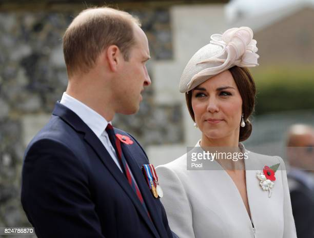 Catherine Duchess of Cambridge and Prince William Duke of Cambridge ahead of a ceremony at the Commonwealth War Graves Commisions's Tyne Cot Cemetery...