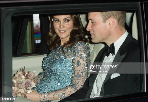 Catherine Duchess of Cambridge and Prince William Duke of Cambridge depart the Royal Variety Performance at Palladium Theatre on November 24 2017 in...