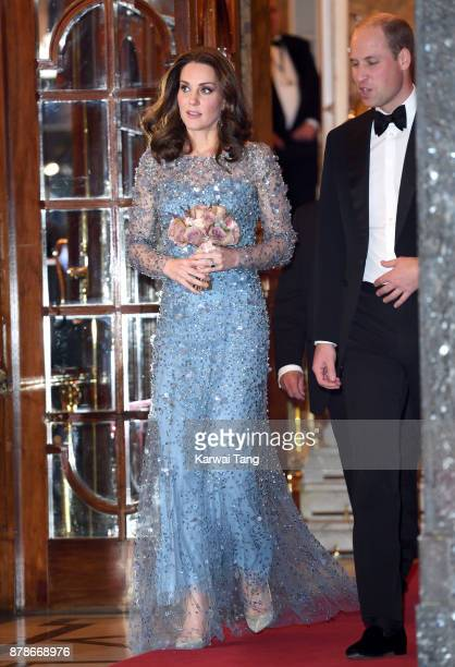 Catherine Duchess of Cambridge and Prince William Duke of Cambridge attend the Royal Variety Performance at the Palladium Theatre on November 24 2017...