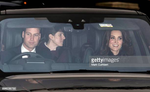 Catherine Duchess of Cambridge and Prince William Duke of Cambridge attend a Christmas lunch for the extended Royal Family at Buckingham Palace on...