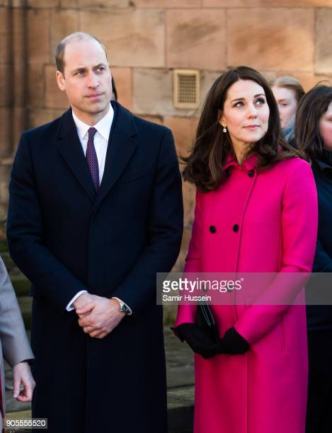 Catherine Duchess of Cambridge and Prince William Duke of Cambridge visit Coventry Cathedral on January 16 2018 in Coventry England