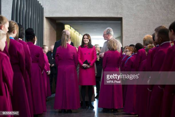 Catherine Duchess of Cambridge and Prince William Duke of Cambridge meet the chorister after The Coventry Litany of Reconciliation at Coventry...