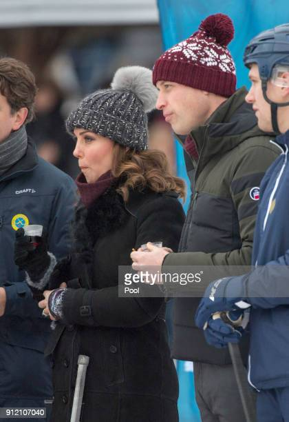 Catherine Duchess of Cambridge and Prince William Duke of Cambridge visit the Stockholm bandy team Hammarby IF where they will learn more about the...