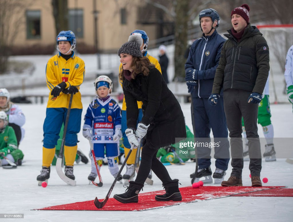 Catherine, Duchess of Cambridge and Prince William, Duke of Cambridge visit the Stockholm bandy team Hammarby IF where they will learn more about the popularity of the sport during day one of their Royal visit to Sweden and Norway on January 30, 2018 in Stockholm, Sweden. The Duchess drank some wine and handed out cups of hot chocolate to the players and both of them had turns at shots on goal. The royal couple also sampled a non-alcoholic drink called 'Glogg' a gluhwein drink.