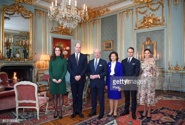 Catherine Duchess of Cambridge and Prince William Duke of Cambridge pose with King Carl XVI Gustaf of Sweden Queen Silvia of Sweden Prince Daniel...
