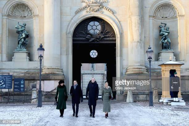 Catherine Duchess of Cambridge and Prince William Duke of Cambridge with Prince Daniel of Sweden and Crown Princess Victoria walk through the cobbled...