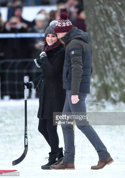 Catherine Duchess of Cambridge and Prince William Duke of Cambridge attend a Bandy hockey match where they will learn more about the popularity of...