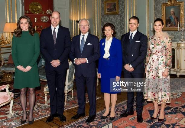 Catherine, Duchess of Cambridge and Prince William, Duke of Cambridge pose with King Carl XVI Gustaf of Sweden, Queen Silvia of Sweden, Prince...