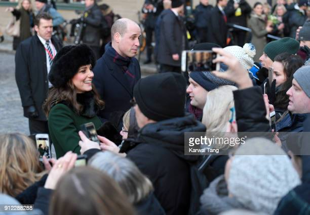 Catherine, Duchess of Cambridge and Prince William, Duke of Cambridge during a walkabout through the cobbled streets of Stockholm from the Royal...