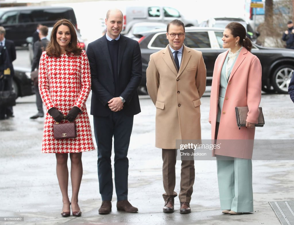 Catherine, Duchess of Cambridge and Prince William, Duke of Cambridge accompanied by Crown Princess Victoria of Sweden and Prince Daniel of Sweden visit the Karolinska Institute to meet with academics and practitioners to discuss Sweden's approach to managing mental health challenges during day two of their Royal visit to Sweden and Norway on January 31, 2018 in Stockholm, Sweden.