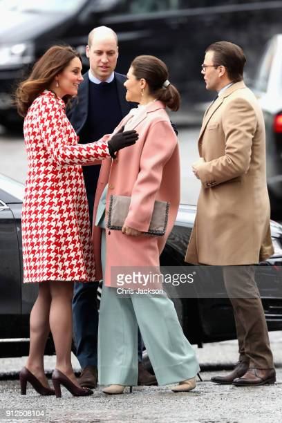 Catherine, Duchess of Cambridge and Prince William, Duke of Cambridge are greeted by Crown Princess Victoria of Sweden and Prince Daniel of Sweden as...