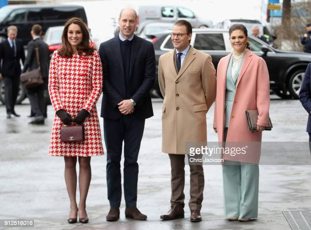 Catherine, Duchess of Cambridge and Prince William, Duke of Cambridge accompanied by Crown Princess Victoria of Sweden and Prince Daniel of Sweden...