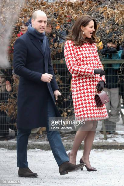 Catherine Duchess of Cambridge and Prince William Duke of Cambridge visit Matteusskolan School to join children who have taken part in the YAM...