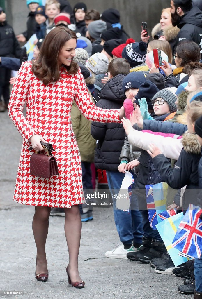 Catherine, Duchess of Cambridge and Prince William, Duke of Cambridge depart from Matteusskolan School after visiting children who have taken part in the YAM programme during one of their mental health activity sessions on day two of their royal visit to Sweden and Norway on January 31, 2018 in Stockholm, Sweden.