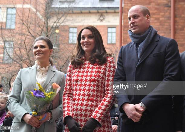 Catherine Duchess of Cambridge and Prince William Duke of Cambridge accompanied by Crown Princess Victoria arrive at the Matteusskolan school in...