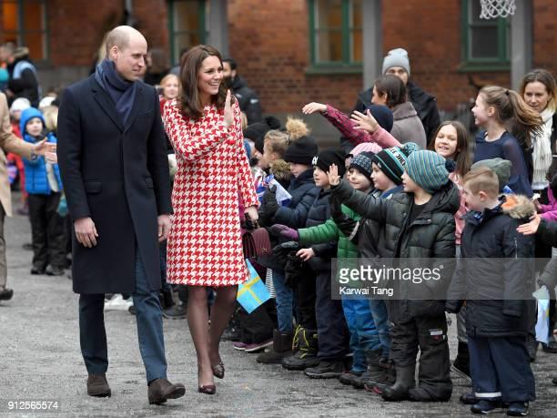 Catherine Duchess of Cambridge and Prince William Duke of Cambridge visit the Matteusskolan School on January 31 2018 in Stockholm Sweden
