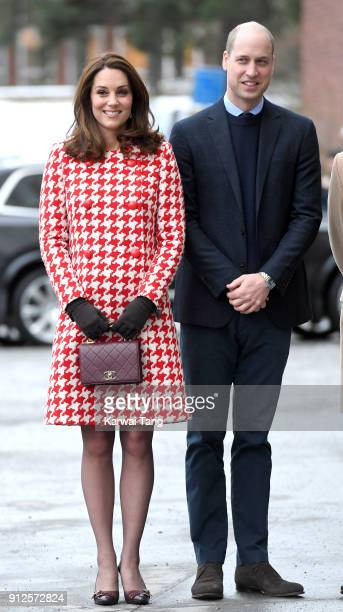 Catherine Duchess of Cambridge and Prince William Duke of Cambridge visit the Karolinska Institute on January 31 2018 in Stockholm Sweden