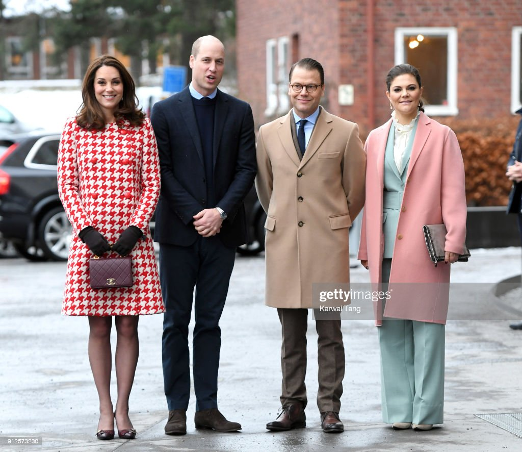 Catherine, Duchess of Cambridge and Prince William, Duke of Cambridge accompanied by Crown Princess Victoria of Sweden and Prince Daniel of Sweden visit the Karolinska Institute on January 31, 2018 in Stockholm, Sweden.